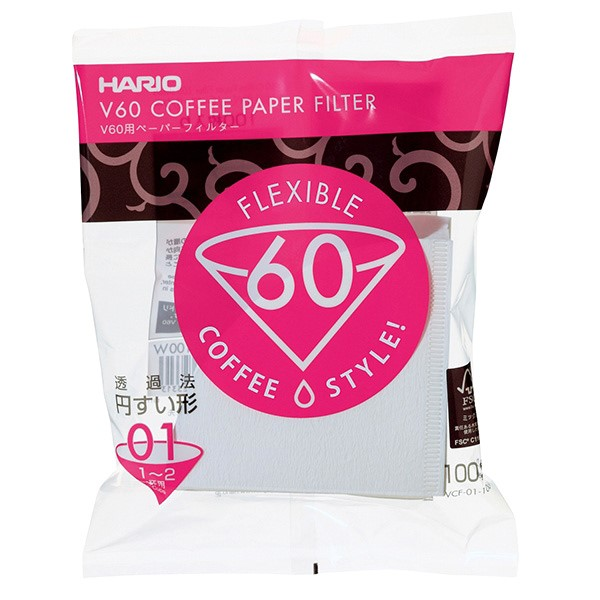 Hario papierový filter pre Dripper V60-01 100ks