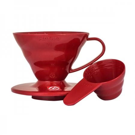 Hario V60-01 plastový dripper červený